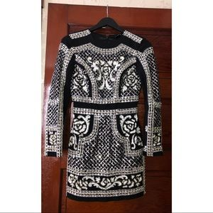 Bebe embellished long sleeve dress